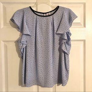 Elle Blue Flower Print Short Sleeve Blouse XL